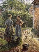 Camille Pissarro Woman in front of farmhouse oil painting picture wholesale